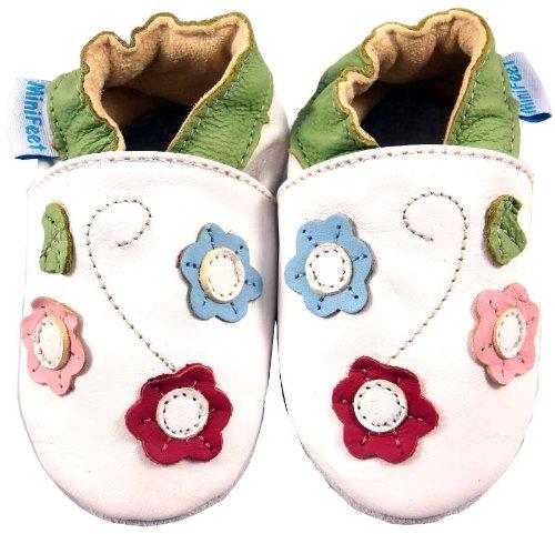 MiniFeet Weiche Leder Babyschuhe Krabbelschuhe, Baby Mädchen - Neugeborene bis 24 Monate - Dreifach Blume Weiß / Weichen Wildleder Sohle