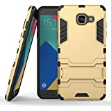 Ouluyun Couvrant Résistant Anti-choc Coque pour Samsung Galaxy A5 (2016) SM-A510F (5,2 Pouces), Robuste Housse Étui avec Béquille Hybrid Case(d'or) + Gratuit Mini USB LED Light Random Colors