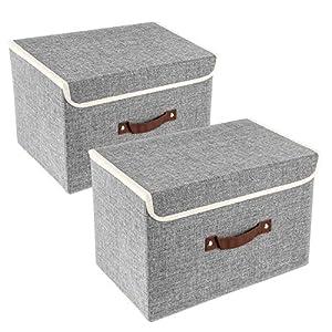 TYEERS 2er Pack Aufbewahrungsboxen mit Deckel und Griff, Faltbarer Aufbewahrungsboxen in Würfelform für Kleiderschrank, Kleidung, Bücher, Kosmetik, Spielzeug etc. Grau