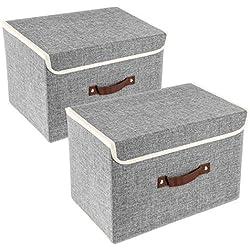 TYEERS 2 Pack Boîtes de Rangement avec Couvercle et Poignée, Boîtes de Rangement Pliable en Tissu, Caisse de Rangement pour Armoire, Vêtements, Livres, Cosmétiques, Jouets etc. Gris