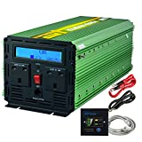 EDECOA Power Inverter 3000W DC 12V to 230V AC Converter with LCD Display and Remote - Green