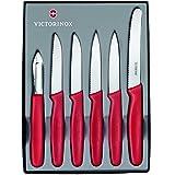 Victorinox 6-teiliges Küchenmesser-Set für Gemüse (Sparschäler, Gemüsemesser, Spülmaschinengeeignet) rot