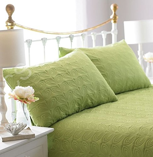 Luxury Quilted Leaf Embossed Bedspread Duvet Throw & Pillow Shams Double / King (Green)
