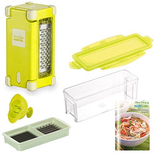 Genius Nicer Dicer Magic Cube Gourmet | 7 tlg. | Multischneider | Obst- und Gemüseschneider | Gemüsehobel | Reibe | Messereinsatz | Auffangbehälter 350 ml