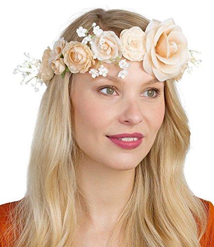 SIX Damen Blumen Haarschmuck Blumenkranz mit Blüten in Apricot, Hochzeit, Junggesellenabschied, Braut, JGA, Festival (456-273)