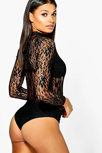 Rose Femmes Wendy High Neck Lace Long Sleeve Bodysuit Rose
