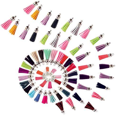 BJ-SHOP Mini Quasten, Leder Quasten mit Caps Multi-Colours Leder Quaste Handtasche für Schmuckherstellung Kunsthandwerk und DIY Zubehör, Verschiedene Farben 120 Pack