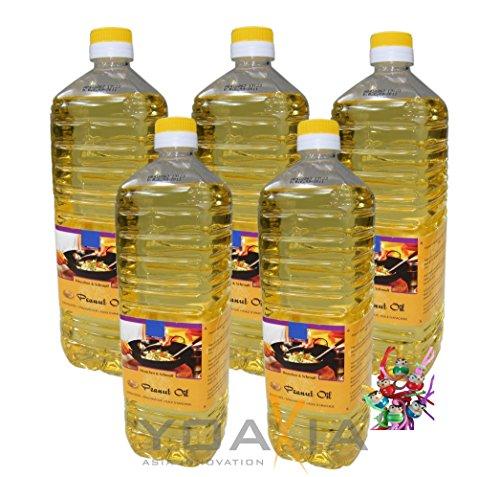 5er Pack 100% Erdnuss-Öl [5x 1000ml] Erdnussöl ~ Peanut Oil ~ Wok Öl + ein kleines Glückspüppchen - Holzpüppchen - Frittieröl