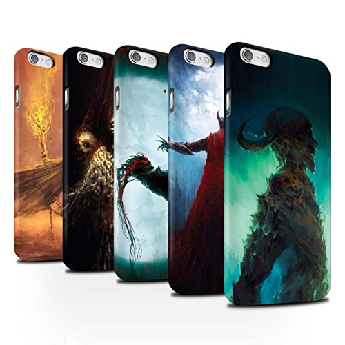 Offiziell Chris Cold Hülle / Matte Snap-On Case für Apple iPhone 6 / Gevatter Tod Muster / Dämonisches Tier Kollektion Pack 6pcs