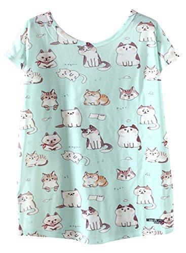 Azbro Mujer Camiseta Tee Pullover Dibujo Estampado Mangas Cortas,blanco L