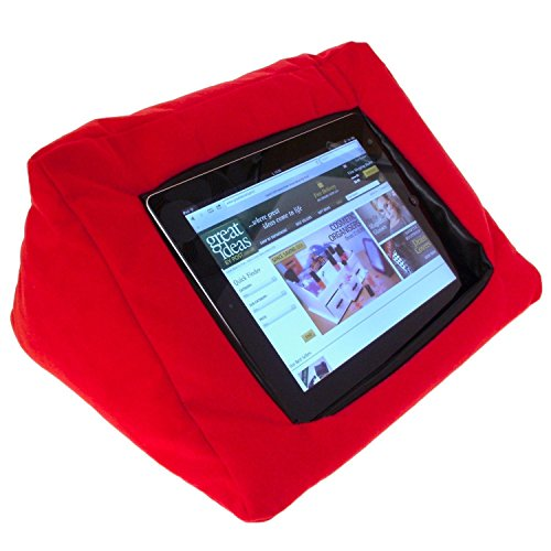 Image of iPad / Tablet Padded Pillow Stand - Ideal Holder To Watch Movies And Films Or Read In Comfort (Red)
