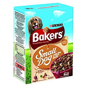 Bakers Complete Dog Food Small Dog Tender Meaty Chunks Tasty Beef and Country Vegetables, 1 kg - Pack of 4