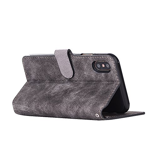 iPhone X Coque,Valenth [Pu Leather] Retro pattern Wallet Coque Etui [Stand Feather] Flip Coque avec embouts pour iPhone X Grey