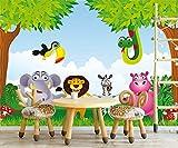 """Bilderdepot24 selbstklebende Fototapete """"Kindertapete - Dschungeltiere Cartoon"""" 360 x 270 cm - direkt vom Hersteller, Vinyl"""