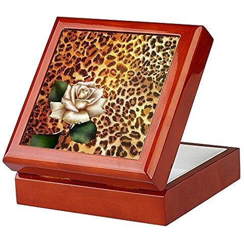 CafePress - rose leopard print Keepsake Box - Keepsake Box, Finished Hardwood Jewelry Box, Velvet Lined Memento Box