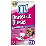 OUT! Disposable, absorbent Female Dog Diapers with leak proof fit (pack of 16) Extra small/Small