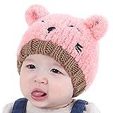 Familizo Chapeau Mou Tricoté de Fille D'enfants Garçon Beau Chapeau de Chat pour Enfants (largeur:20cm, hauteur:18cm, Rose)