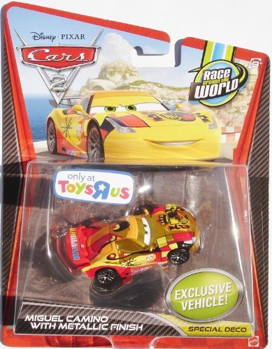 Disney Pixar CARS 2 Exclusive 1:55 Die Cast Car RACER Miguel Camino avec Metallic Finish - Véhicule Miniature - Voiture