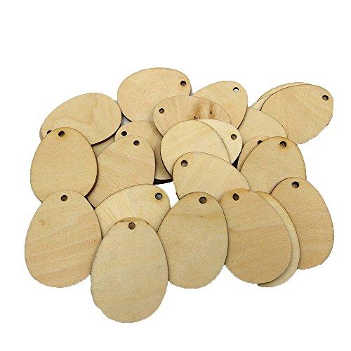 SEEGOU 50pcs DIY Hängende Ornamente Ostereier Holz Ostereier Holz Handwerk für Ostern Dekorationen Tag Ostereier Form Ovaler Holzspan Holz (Khaki, ()