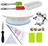 #5: Cake Decoration Tools Set Decorating Turn Full Rotating Round Table with accessories (hpk-bdjk3)