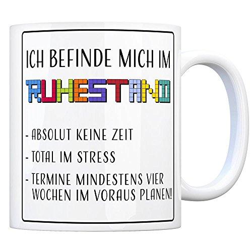 Kaffeebecher Stress (Kaffeebecher mit Ruhestand Motiv)
