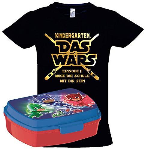Kostüm Last Super Minute - Coole-Fun-T-Shirts Einschulungsset PJMASK BROTDOSE + T-Shirt Kindergarten Das Wars Schwarz Gr.128cm