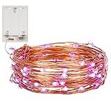 NONMON 10M 100 LEDs Kupferdraht LED Kupfer Lichterkette, Wasserdicht Batteriebetrieb Sternen Lichterketten - Lila
