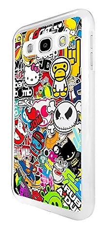 114 - Cool Funky Sticker Bomb Jdm Eat Sleep Design Samsung Galaxy J5 (2016) SM - J510X Coque Fashion Trend Case Coque Protection Cover plastique et métal - Blanc