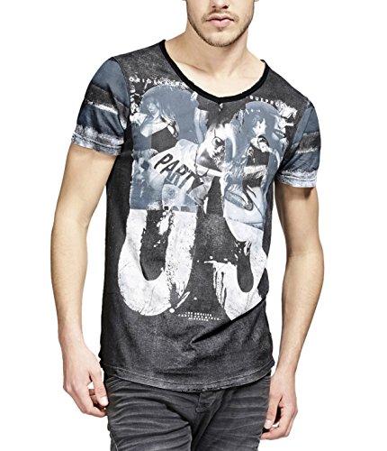 trueprodigy Herren T-Shirt V-Ausschnitt Blau Kurzarm Slim Fit