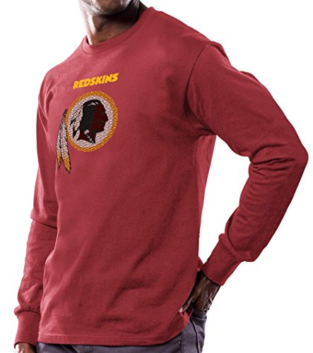 Washington Redskins Majestic NFL Critical Victory Men's Long Sleeve Red T-Shirt Camicia