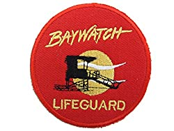 BAYWATCH LIFEGUARD BADGE - 2 IRON ON PATCHES by ONEKOOL