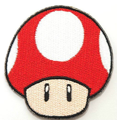 Red Mushroom patch Embroidered Iron on Badge Aufnäher Kostüm Mario Kart/SNES/Mario World/Super Mario Brothers/Mario All Stars Cosplay (Mario Brothers Goomba Kostüm)