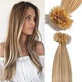 TESS Extensions Echthaar Bondings 1g 100% Remy Haarverlängerung 50 Strähnen Keratin Human Hair 50g/45cm(#18/613 Hellgoldblond/Hell-Lichtblond)