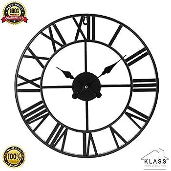 Klass Home Collection Horloge Murale Ronde en m/étal pour int/érieur//Jardin Chiffres Romains Ouverts Noir 40 cm