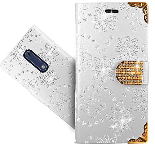 Nokia 5 Handy Tasche, FoneExpert® Wallet Case Cover Bling Diamond Hüllen Etui Hülle Ledertasche Lederhülle Schutzhülle Für Nokia 5 5 Bling