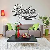 yiyiyaya Famille Maison Sticker Espagnol Mots Bendiga Esta CASA Con Y Felicidad PVC Mur Art Autocollant Mural Salon Décorer Blanc 75x42 cm