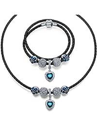 b6039f9e1f8e Collar y Pulsera Corazón azul Conjuntos de Cadenas con Pulseras de Cuero  Cristal Azul Regalos Encanto
