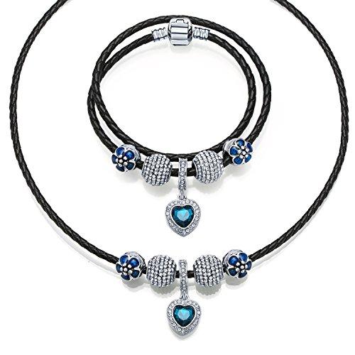 Blue Sätze von Ketten MANBARA Damen Armband Leder Halskette Armband weißen Kristall blau Glas Perlen Armband (Kristall Halskette Leder)
