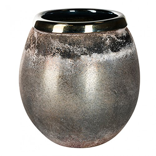 Windlicht Vase Mersh smoky black round l - Blumenvase Glasvase in Frozen-Optik Maße: 20.0 x 18.0 x 18.0 cm