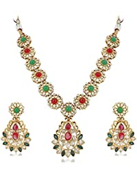 Vk Jewels Wedding Collection Gold Brass Alloy Necklace Set For Women Vknks1280G