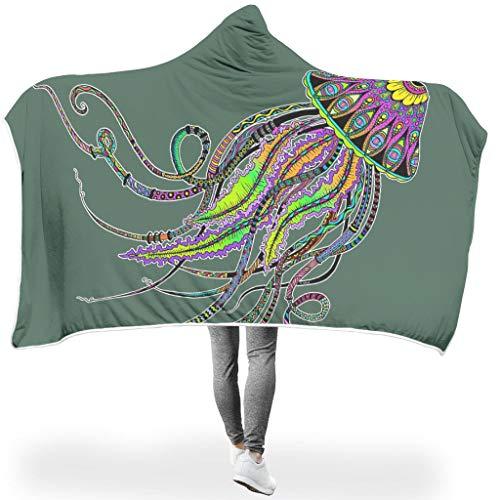 Charzee Qualle ThemeWearable Hooded Throw Wrap Hypoallergen Bequemes Schlafdecke TV Computer Mikrofaserdecke Für Erwachsene Und Kinder White 150x200cm