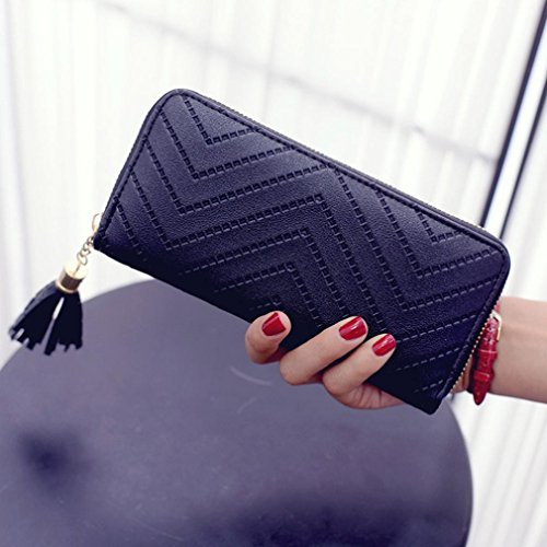 Reasoncool 2017 Moda Donne Lady titolare della carta in pelle lungo frizione portafoglio nappa della borsa (Nero) Nero