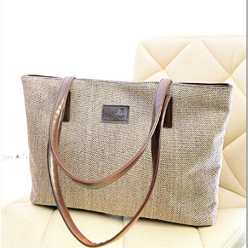 Lalang Frauen Klassisch Weinlese Beutel Schulter Beutel Segeltuch Handtasche Large Bag (Khaki) Beige