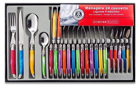 Menagere Couleur 24 Pieces - Laguiole Production 438580 Ménagère 24 Pièces Acier