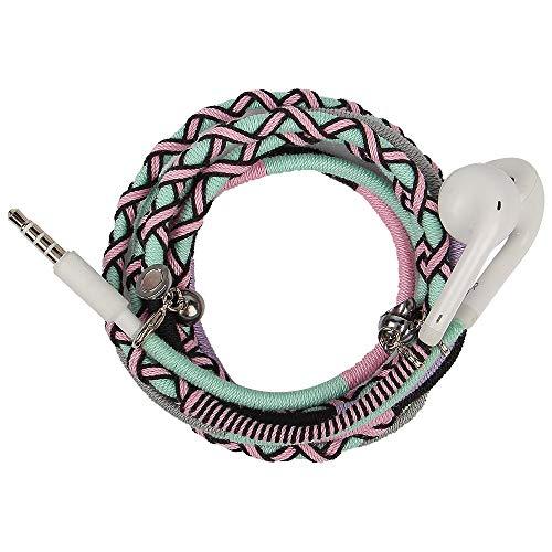 URIZONS Kopfhörer in Ears, In-Ohr Kopfhörer mit Mikrofon und Fernbedienung Handgefertigte Stoff Geflochtene Tribe Thread Wrapped Armband Style - Mikrofon Geflochten Kopfhörer Mit