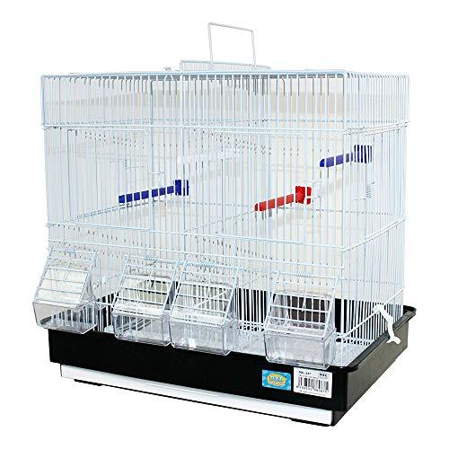 DZL- Jaula para pajaros Grandes criar con separación bebederos comedero y Perchas(42.5X29.5X40CM) (Negro)