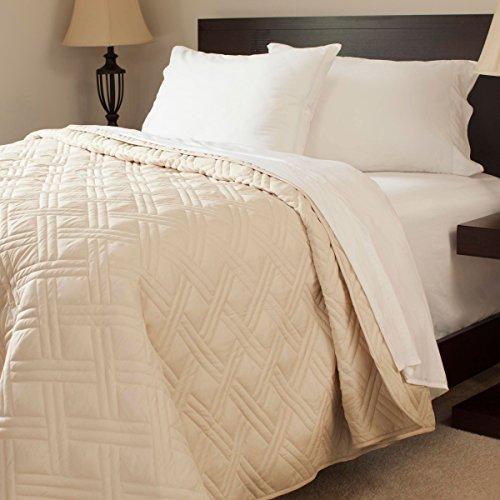 Bedford Home Solid Color Bed Steppdecke, König, Elfenbein (Quilt Bedford)