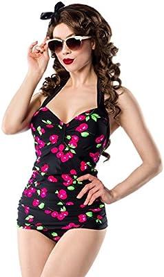 Retro Vintage gepaddet-Bañador para mujer con diseño de cerezo Neck Holder Baño Mode Negro Rosa