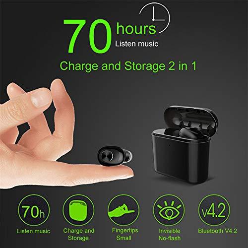 Bluetooth Earphone TAOtTAO Leichte Mini Wireless Bluetooth Kopfhörer mit Lade Aufbewahrungsbox (Schwarz)