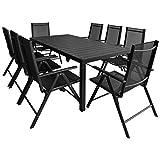 tidyard Table de Jardin d'extérieur 9 pcs Aluminium WPC pour Salon, Jardin, Patio Noir 185 x 90 x 74 cm